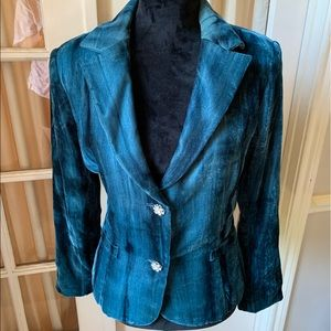 Cache Teal velvet blazer with crystal buttons 12